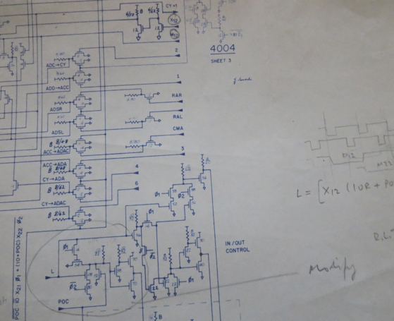 Photo of the original schematic of the 4004 showing bootstrap loads