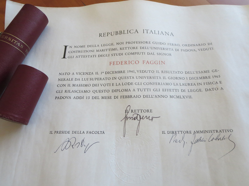 Image of Federico's laurea document